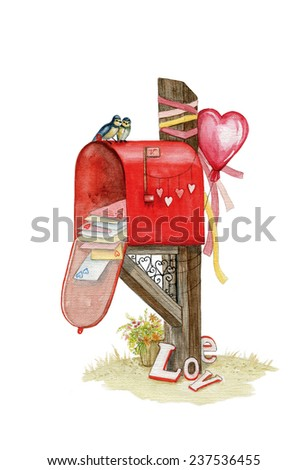 Valentine's mailbox with romantic elements: pair of birds, hearts, Valentine, ribbon, flowers. Watercolor illustration. Perfect for card, posters, invitations. - stock photo
