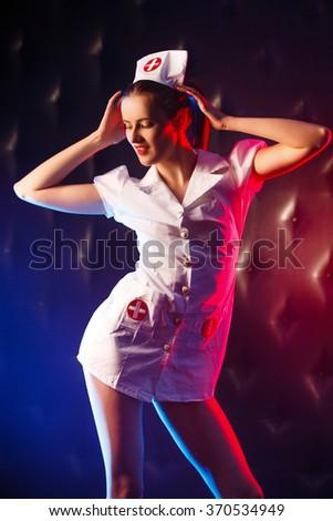 Valentine's nurse, studio shot  - stock photo