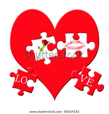 Valentines Puzzle Love Symbols On Big Stock Illustration 68564182