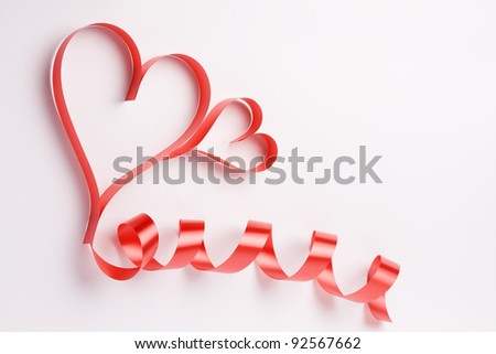 valentine's red heart  on a white background , valentine's day , day valentine - stock photo