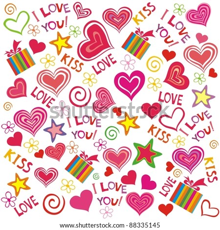 Valentine seamless hearts pattern.  I love you!  Illustration - stock photo