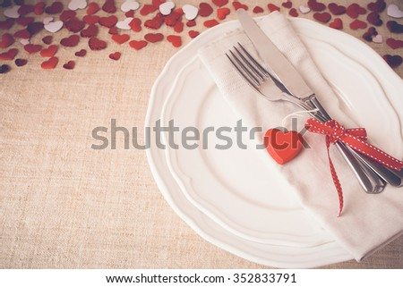 Valentine table setting copy space background, selective focus, vintage tone - stock photo