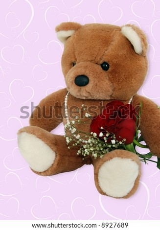 valentine teddy bear with rose - stock photo