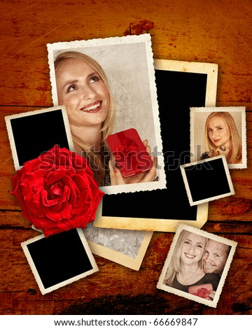 valentine template with old pictures of a beautiful couple with a red rose on grunge background - stock photo