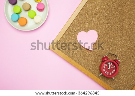 Valentine theme ;Macaron,clock and pin boardwith pink background
