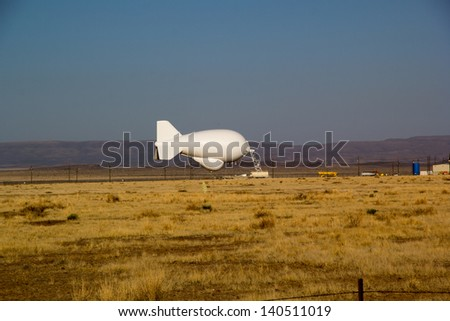 VALENTINE,TX,USA MAY30: A Moored Aerostat Is Ready For Departure Near