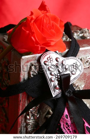 Valentine underwear with red rose and silver heart - stock photo