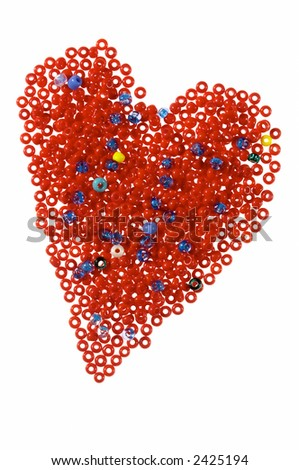 Valentines card in form of heart made of red glass beads, isolated on white