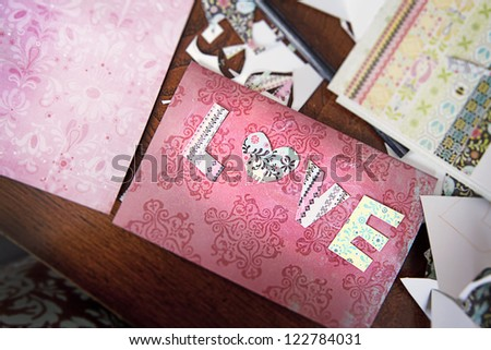 Valentines Cards Making - Love lettering - stock photo