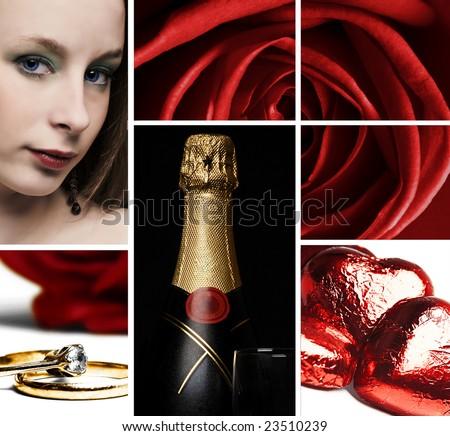 Valentines Collage - stock photo