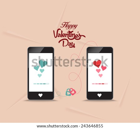valentines connecting hearts together by phone - stock photo