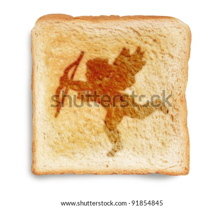 valentines cupid picture burn mark on toast  bread, isolated on white background