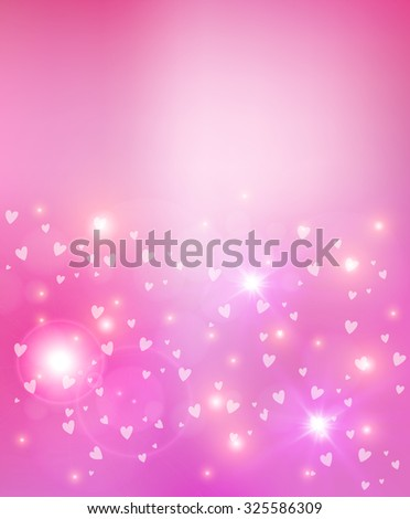 Valentines Day abstract glow soft light and hearts background illustration. Ideal for greeting card, poster design and web template.  - stock photo