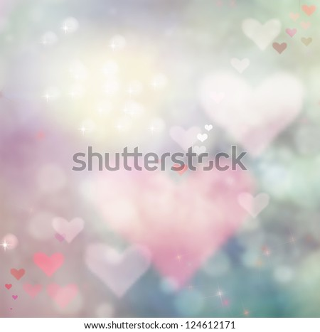 Valentines day abstract nature background with bokeh lights and hearts - stock photo