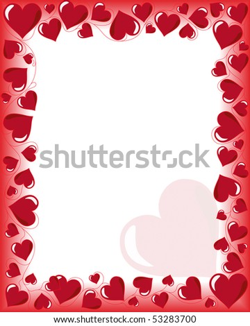 Valentines Day Background Frame Heart Shaped Stock Illustration ...