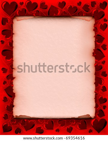 Valentines day background frame with heart shaped ornament around a piece of parchment - stock photo