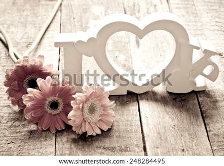 Valentines day background in vintage style - stock photo