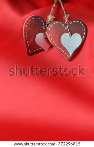 Valentines Day Background, Valentine Heart Red Silk Fabric, Wedding Love - stock photo