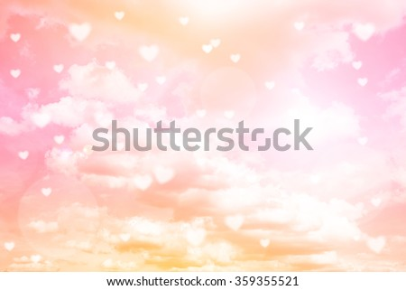 Valentines day background , Valentines Day Card ,Abstract and Soft Hearts for Valentines Day Background ,Vintage style color tone ,background out of focus ,bright sun light background - stock photo