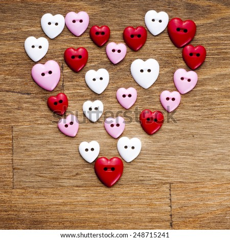 Valentines day background with buttons heart - stock photo