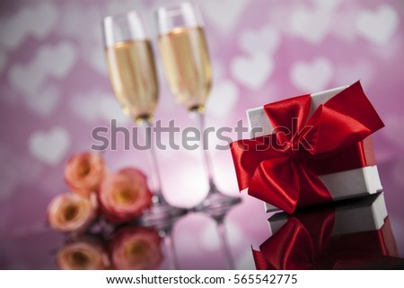 Valentines day background with champagne and roses, mirror background