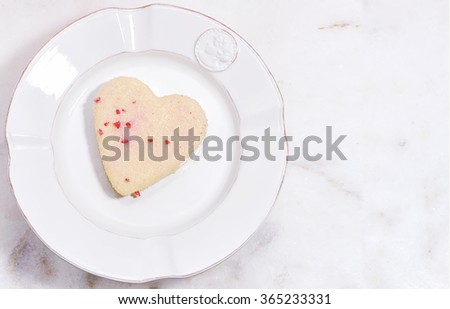 Valentines Day background with heart and roses. Vintage style. Heart shaped cookies for valentine's day. Mother day - stock photo