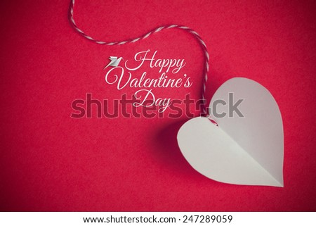 valentines day background with paper cut heart and greeting message - stock photo