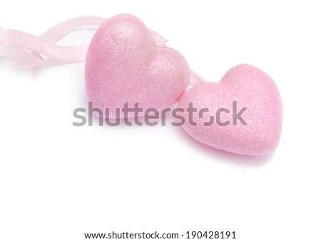 valentines day background with two hearts on isolated on white background - stock photo