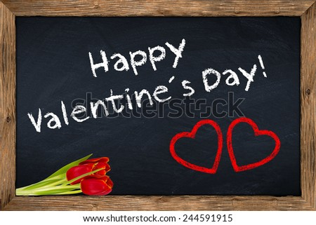 valentines day blackboard with flowers - stock photo