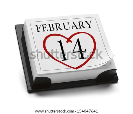 Valentines Day Calendar Feb 14th Isolated on White Background. - stock photo