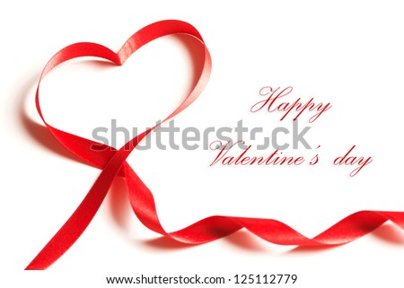 Valentines day card - heart made of ribbon on white background - stock photo