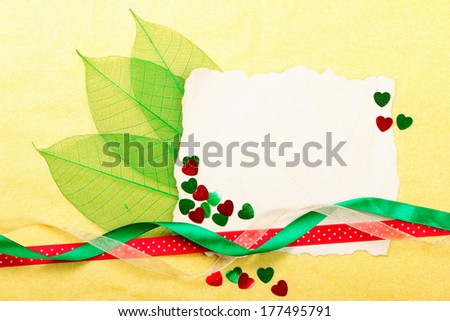 Valentines day card. Old paper with decorations on yellow background. Stock photo - stock photo