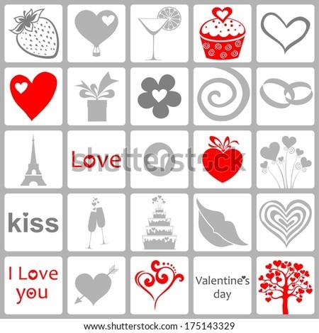 Valentines day card. Seamless love pattern.  Illustration  - stock photo