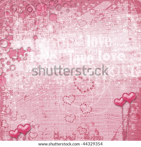 Valentines day card with hearts for congratulation to holiday - stock photo