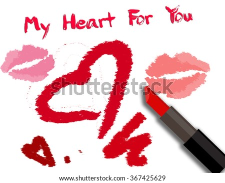 Valentines Day card with lipstick inscription