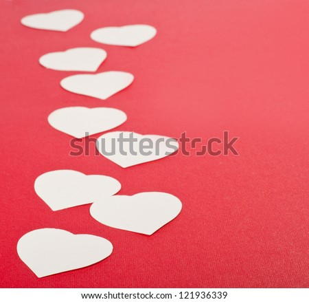Valentines day card with red hearts - stock photo