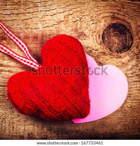 Valentines Day Card with  Red Hearts on wooden vintage textured background with copy space. Love Beautiful concept in vintage style. Valentine over Wood.  - stock photo