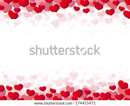Valentines Day card with scattered hearts on top and bottom - stock photo