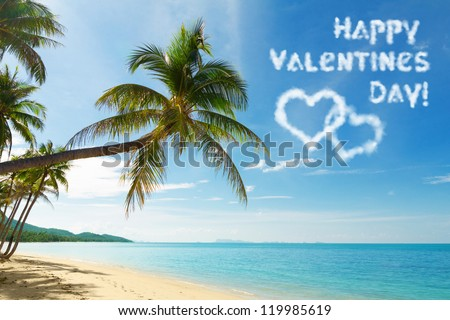 Valentines day card with tropical beach and coconut palm trees - stock photo