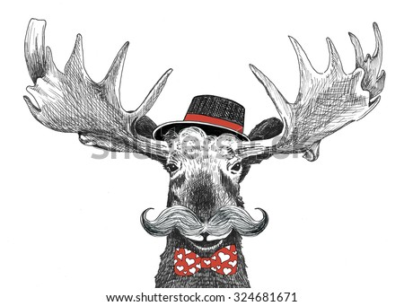 Valentines day cartoon hipster moose with large handlebar mustache, cool hat and red bow tie with hearts, funny valentine or wedding groom animal, hand drawn humorous holiday sketch illustration - stock photo