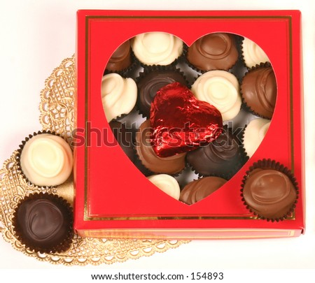 Valentines day chocolates. - stock photo