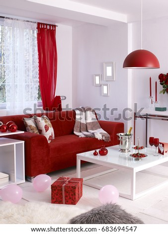 Valentines Day Concept Decoration Red Sofa Stock Photo (Edit Now) 683694547    Shutterstock