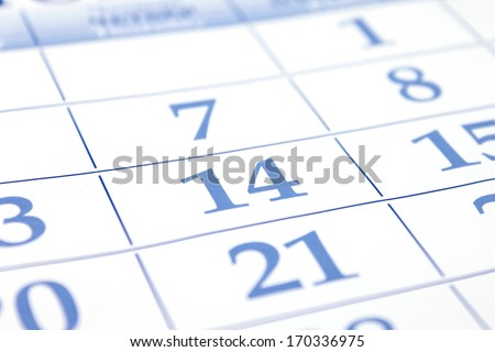 Valentines Day. Date of calendar. - stock photo
