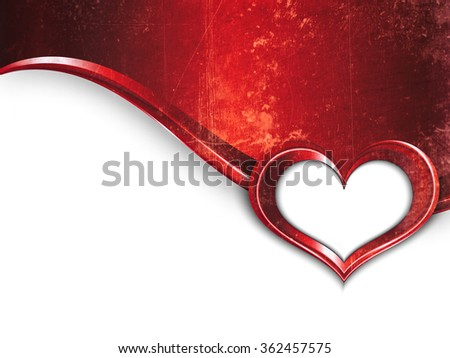 Valentines Day Design. Grunge Metal Background With Wave And Frame of Heart For Your Text - stock photo