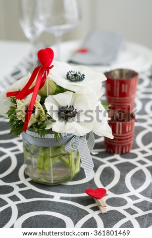 valentines day dinner - stock photo
