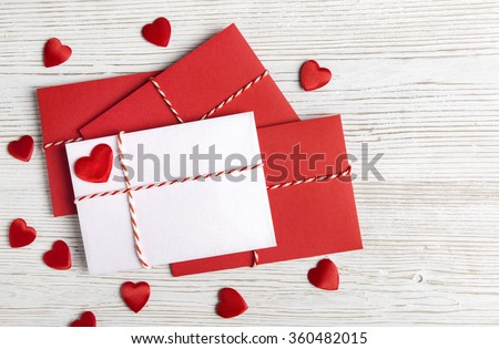 Valentines Day Envelope Mail,  Red Heart Tied Rope. Valentine Letter Card, Wedding Love Concept - stock photo
