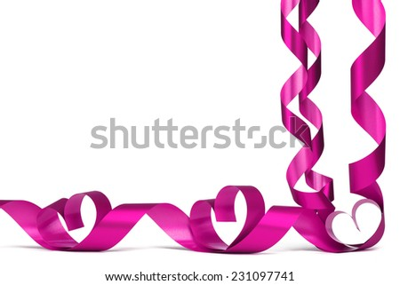 Valentines day frmae made of pink ribbon hearts, isolated on white - stock photo