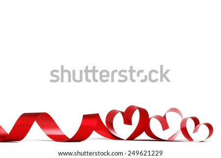 Valentines day frmae made of red ribbon hearts, isolated on white - stock photo