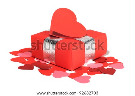 Valentines Day gift in red box and heart shaped card isolated on white - stock photo