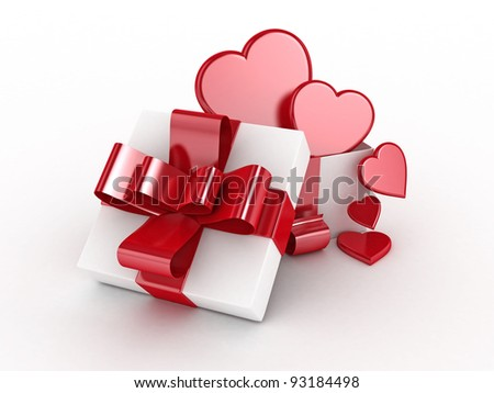 Valentines Day gift with 3D heart symbols isolated -3D Rendered - stock photo
